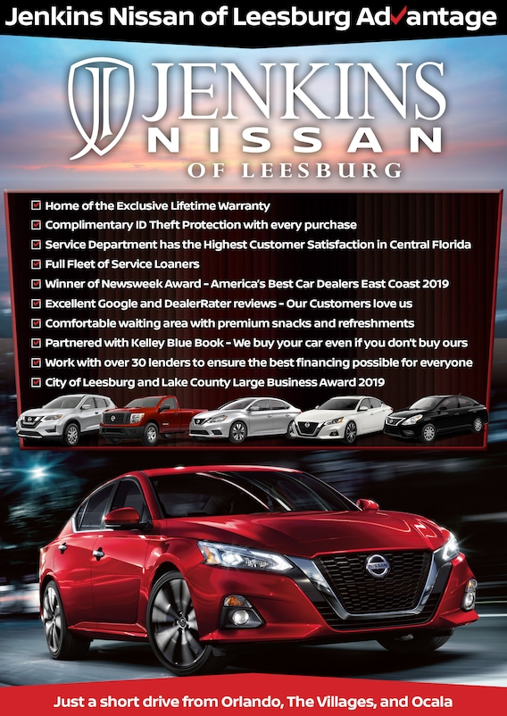 Why Buy From Jenkins Nissan Of Leesburg Fl Nissan Dealer Jenkins hyundai of leesburg located in florida at 9145 s. why buy from jenkins nissan of leesburg