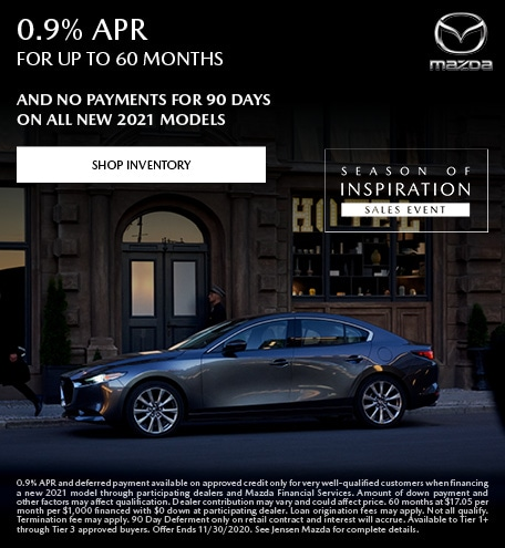 0.9% APR Financing on New 2021 Mazda Models