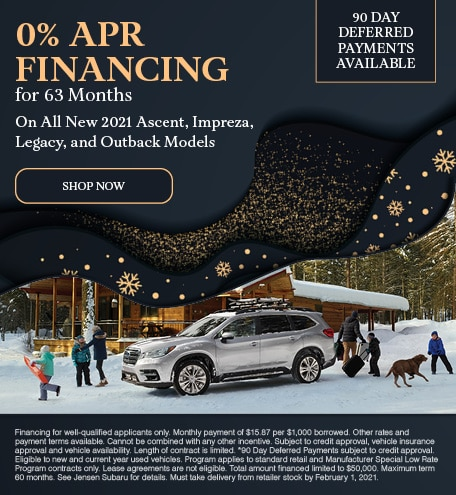 0% APR Financing for 63 Months On Select New 2021 Models - January Special