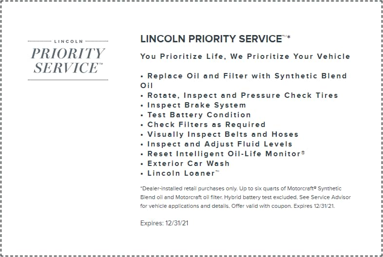 Lincoln Priority Service Offer