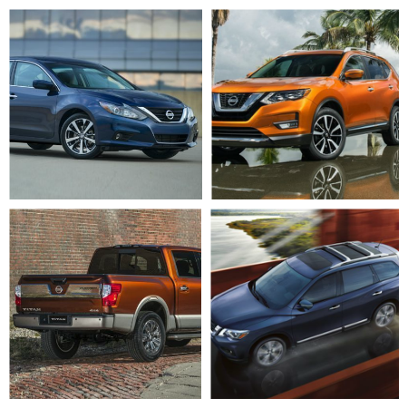collage of Nissan models including Rogue, Altima, Titan & Pathfinder