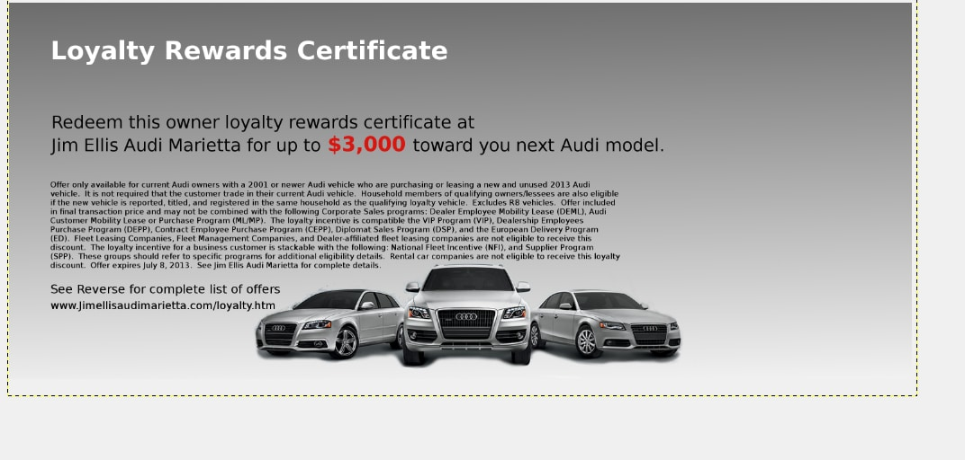 Audi Owner Loyalty At Jim Ellis Audi Marietta Special Incentives - Audi loyalty