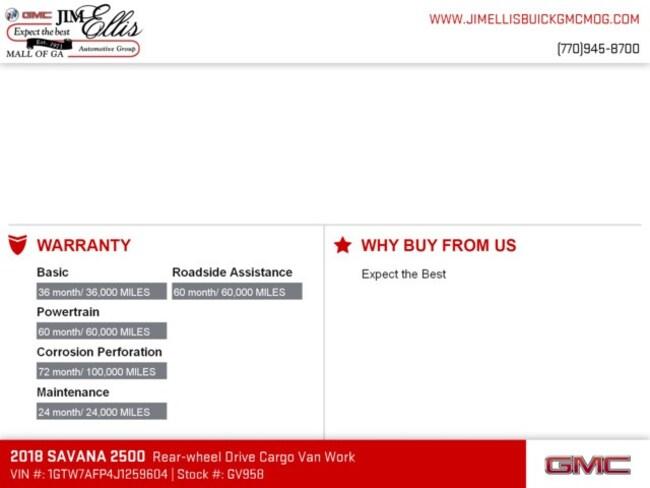 new 2018 gmc savana 2500 for sale at jim ellis buick gmc mall of ga vin 1gtw7afp4j1259604. Black Bedroom Furniture Sets. Home Design Ideas