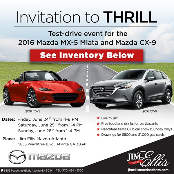 Test Drive Event For The 2016 Mazda MX 5 Miata And Mazda CX 9. Join Jim  Ellis Mazda ...