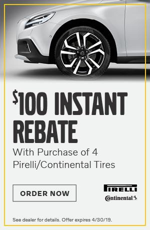 $100 Rebate on 4 Tires - April