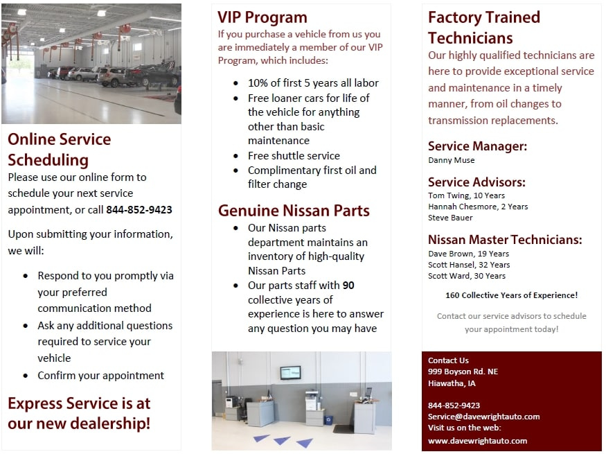 Service Brochures | Dave Wright Auto