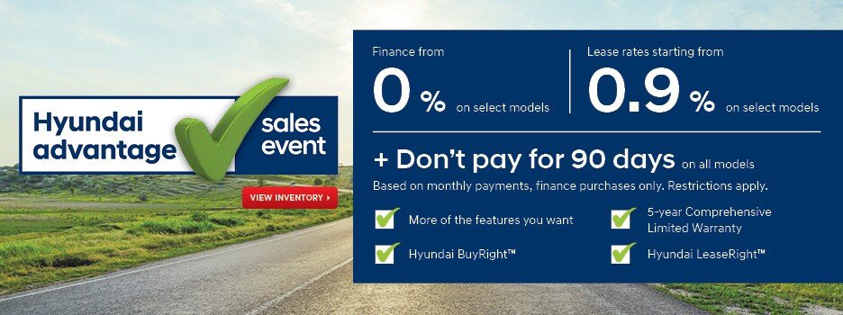 Hyundai Advantage Sales Event - Don't pay for 90 days