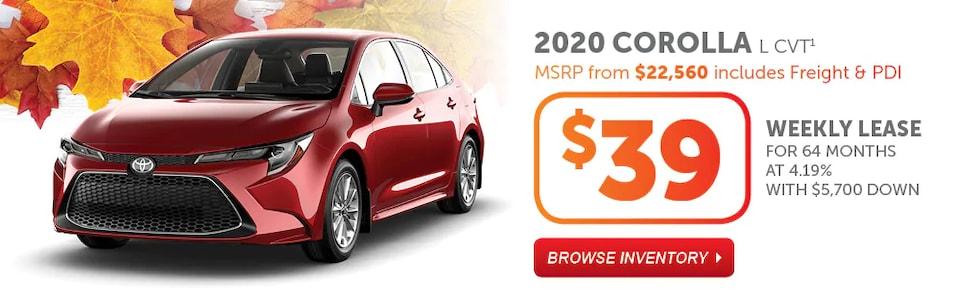 2020 Corolla L CVT Fall Into Savings Event
