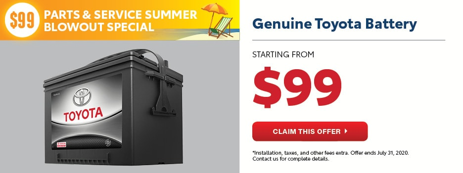 $99 Toyota Battery Summer Blowout Special
