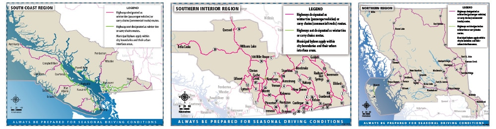 BC Winter Tires Highway Map
