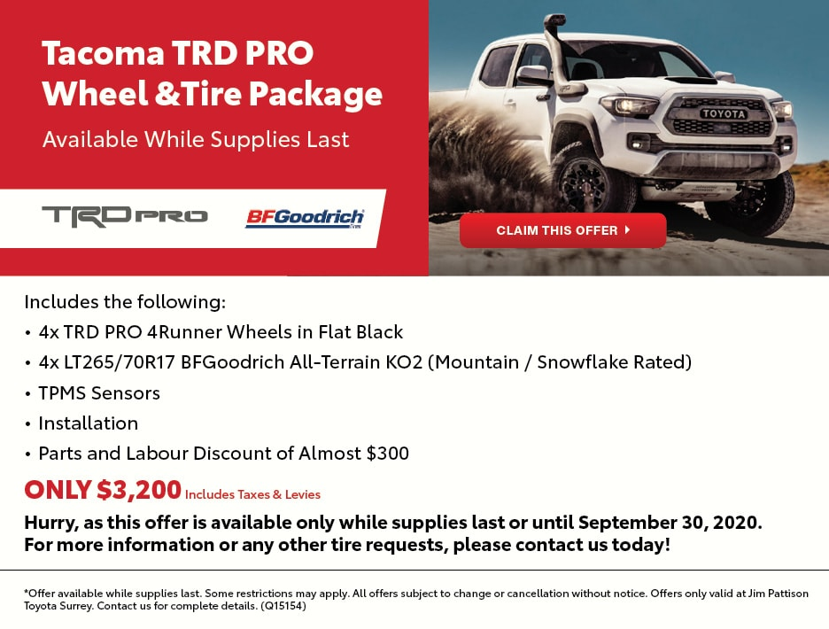 Tacoma TRD PRO Wheel & Tire Package Offer
