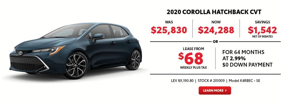 2020 Corolla Hatchback CVT November Special