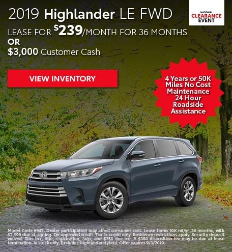 August 2019 Toyota Highlander