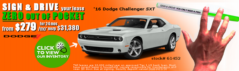 Sign And Drive Lease Deals >> Dodge Challenger Lease Deals 2017 Dodge Charger
