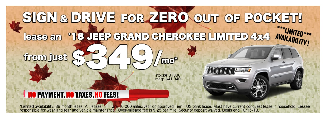 Are You Looking For A Jeep Grand Cherokee Lease Deal In Buffalo Or Niagara  Falls? This October, You Can Lease A 2018 Jeep Grand Cherokee Limited  Starting At ...