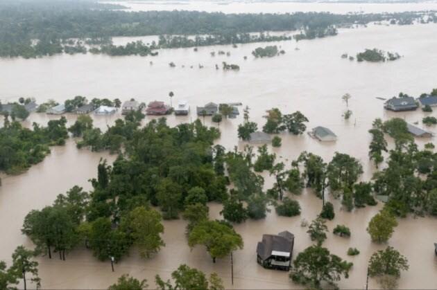Hurricane Harvey flooded houses