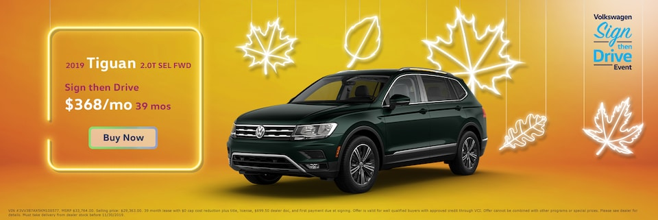 Lease: $299 per month for 39 months. $0 due at signing for select 2019 Volkswagen Tiguan 2.0T S