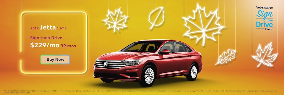Lease: $249 per month for 39 months. $0 due at signing for select 2019 Volkswagen Jetta