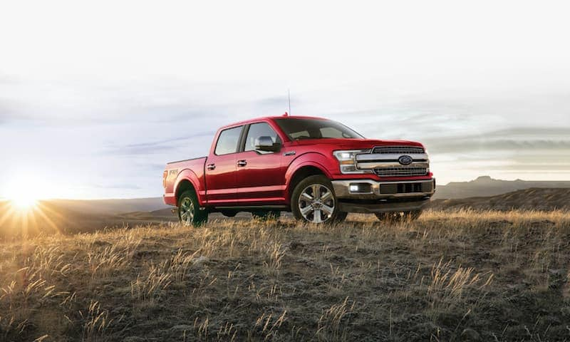 A red 2020 Ford F-150