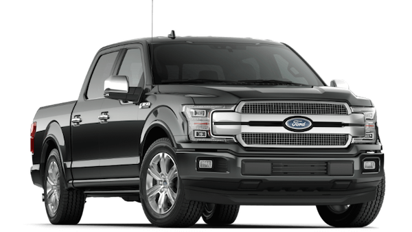 A black 2019 Ford F-150 Platinum
