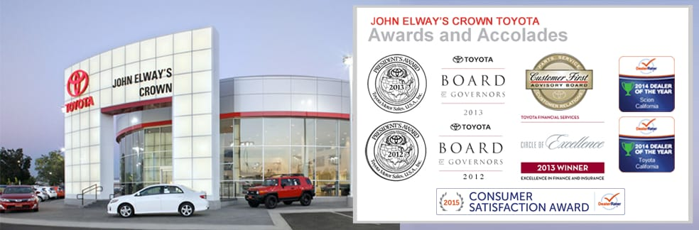 ontario ca toyota dealer about john elway 39 s crown toyota scion. Black Bedroom Furniture Sets. Home Design Ideas