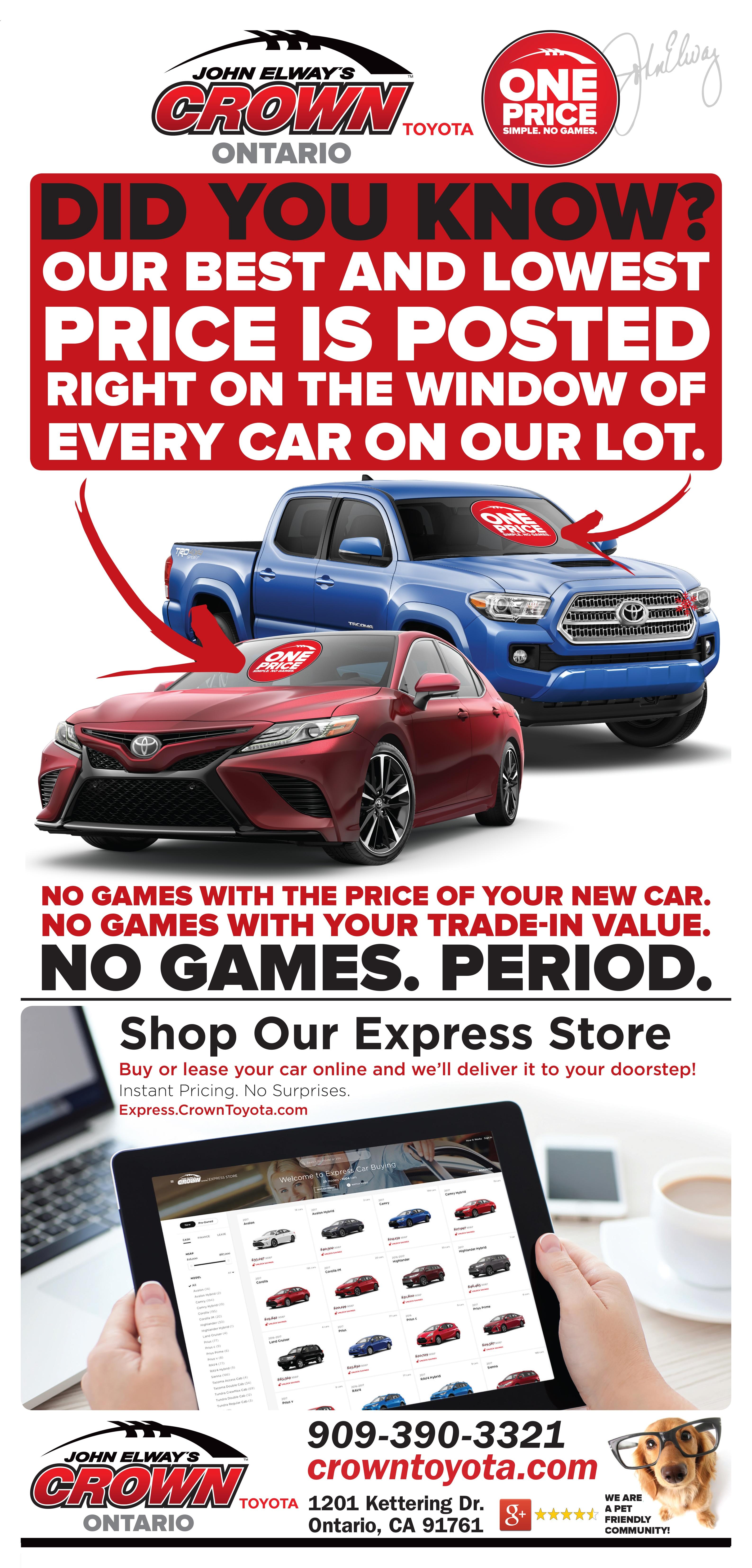 John Elway S Crown Toyota New Toyota Dealership In Ontario Ca