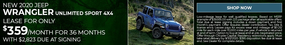 New 2020 Jeep Wrangler Unlimited Sport 4x4 - Sept