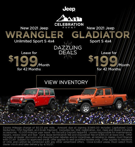 New 2021 Jeep Wrangler Unlimited Sport S 4x4 and Gladiator Sport S - April