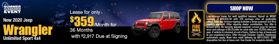 New 2020 Jeep Wrangler Unlimited Sport 4x4 - August