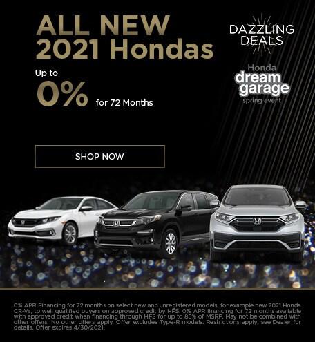 All New 2021 Hondas 0% for 72 - April
