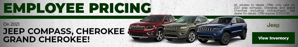 Employee Pricing On 2021 Jeep Compass, Cherokee & Grand Cherokee