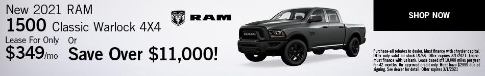 New 2021 RAM 1500 Classic Warlock 4X4