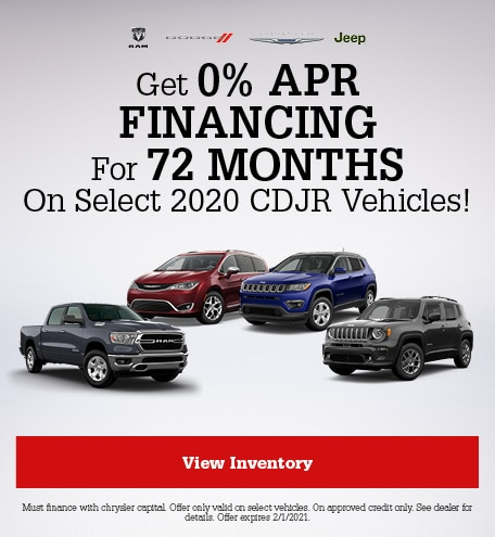 Get 0% APR Financing For 72 Months On Select 2020 CDJR Vehicles!