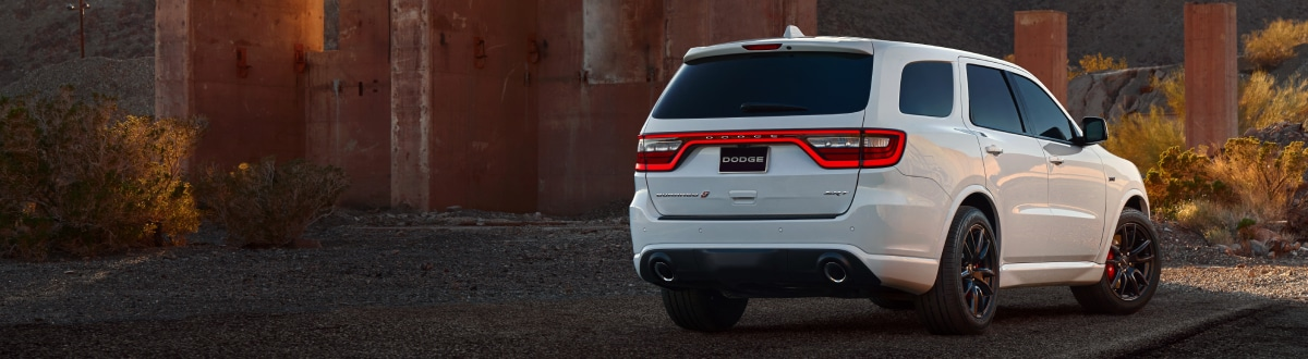 New Dodge Durango rear view in the desert