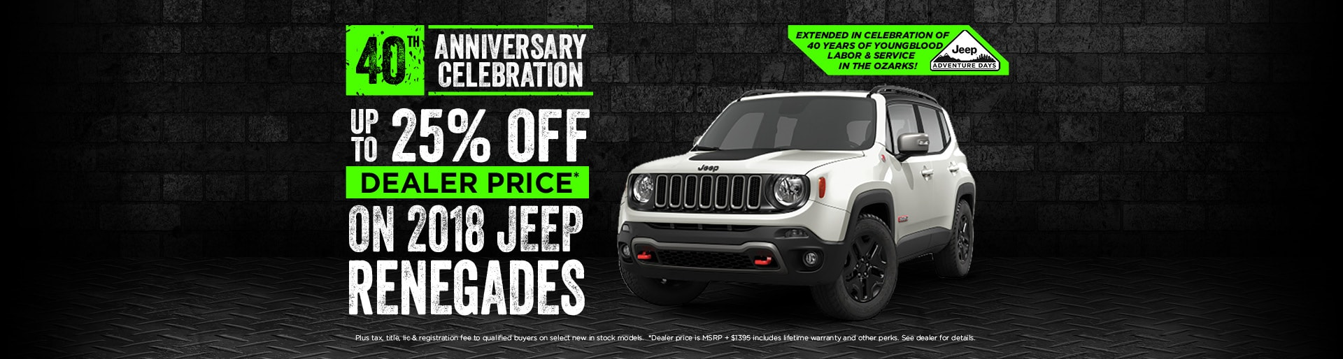 25% off Jeep Renegades
