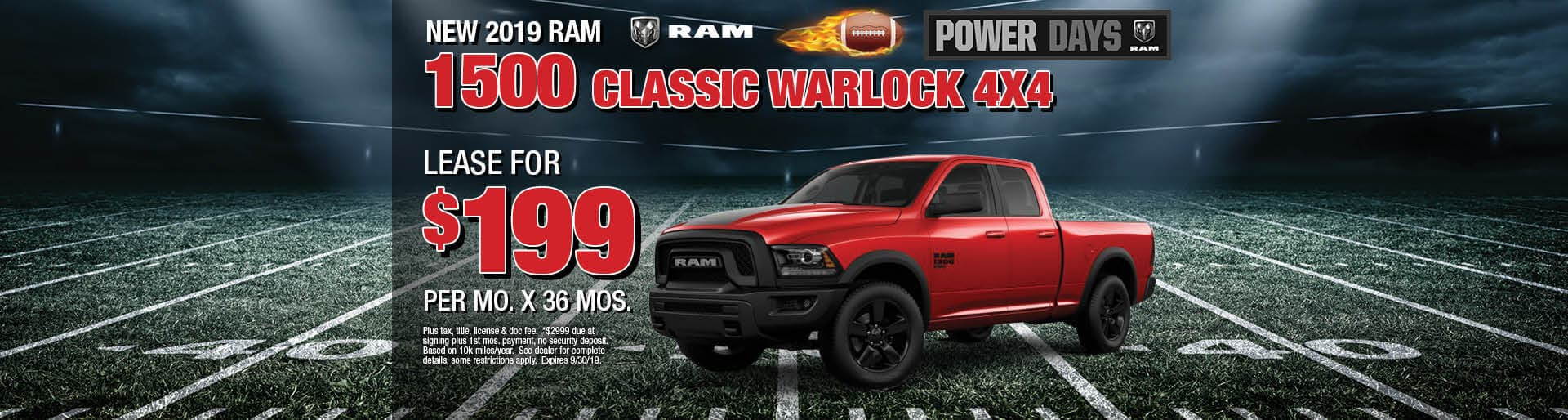 Lease a 2019 Ram 1500 Classic Warlock for $199/mo. for 36 mos.