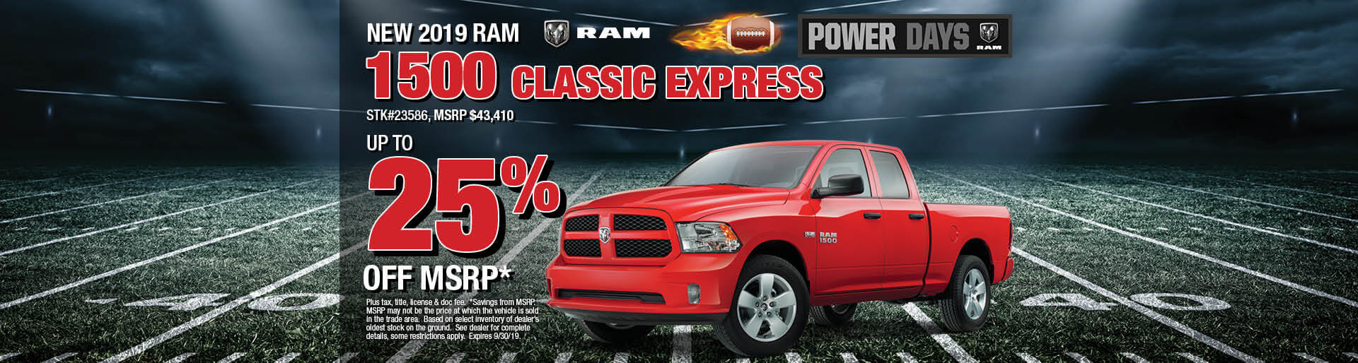 Get Up to 25% off MSRP on a 2019 Ram 1500 Classic Express