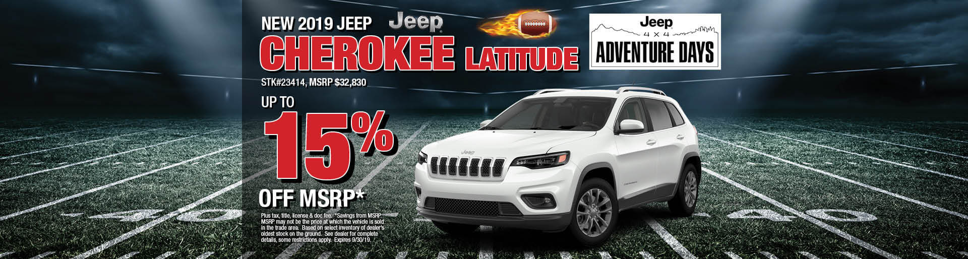 Get up to 15% off MSRP on a 2019 Jeep Cherokee Latitude