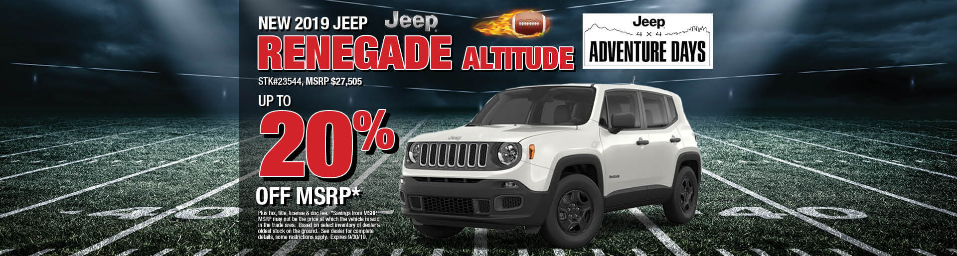 Get 20% Off MSRP on a 2019 Jeep Renegade Altitude
