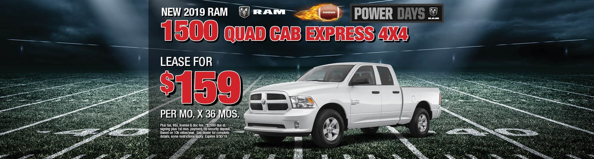 Lease a 2019 Ram 1500 Express for $159/mo. for 36 mos.