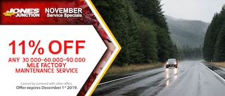 11% OFF Any 30,000 - 60,000 - 90,000 Mile Factory Maintenance Service