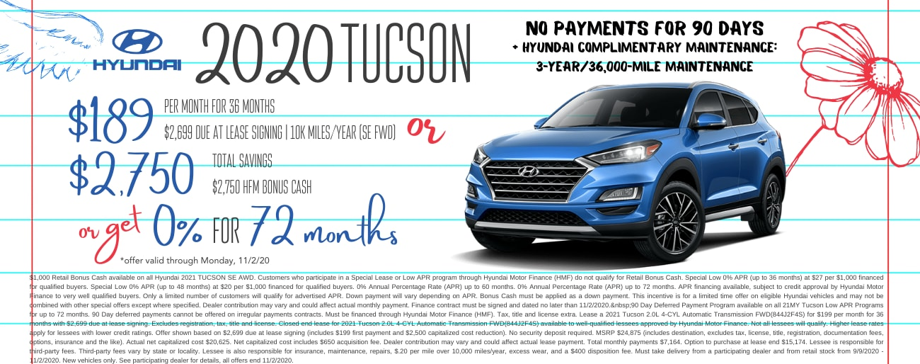Find the perfect lease special on a new Hyundai Tucson in Dayton OH today.