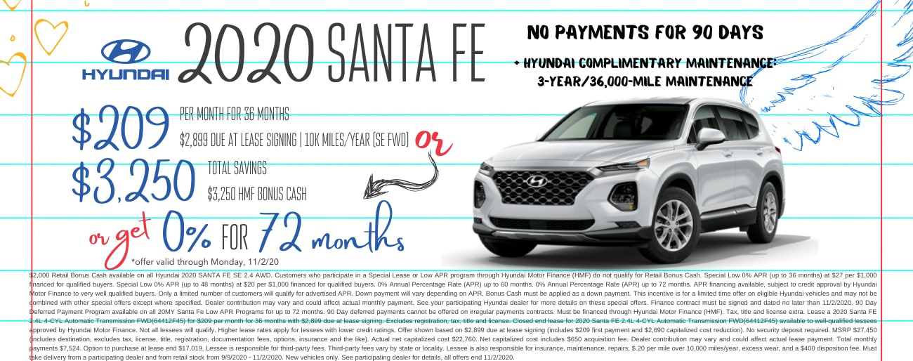 Find the perfect lease special on a new 2020 Hyundai Santa Fe in Dayton OH today.