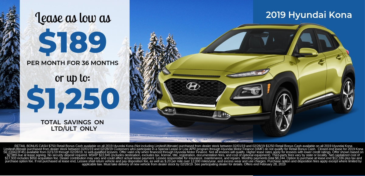 Find the perfect lease special on a new 2019 Hyundai Kona in Dayton OH today.