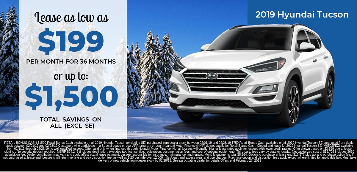 Find the perfect lease special on a new 2019 Hyundai Tucson in Dayton OH today.