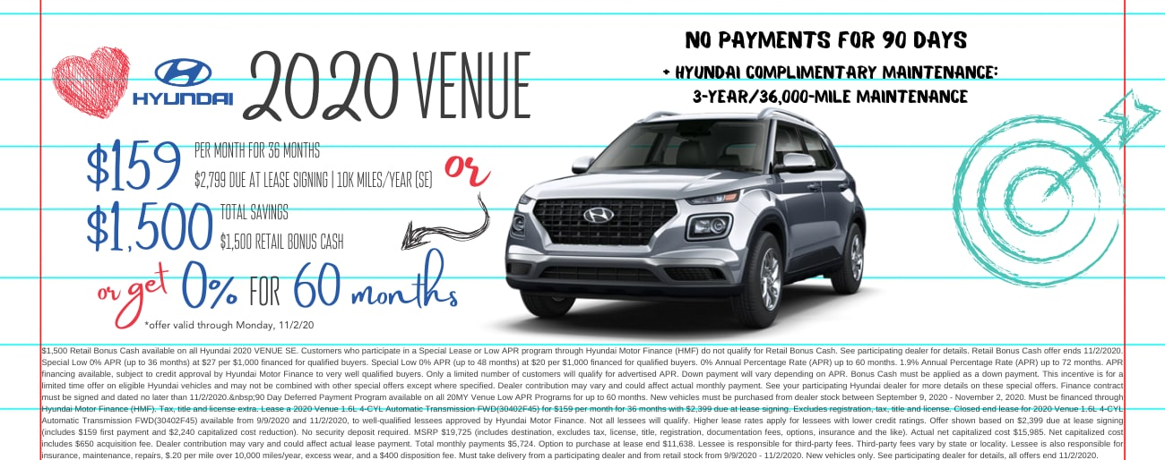 Find the perfect lease special on a new 2020 Hyundai Venue in Dayton OH today.