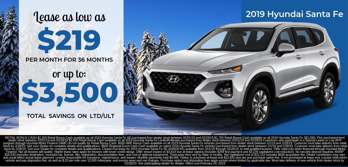 Find the perfect lease special on a new 2019 Hyundai Santa Fe in Dayton OH today.