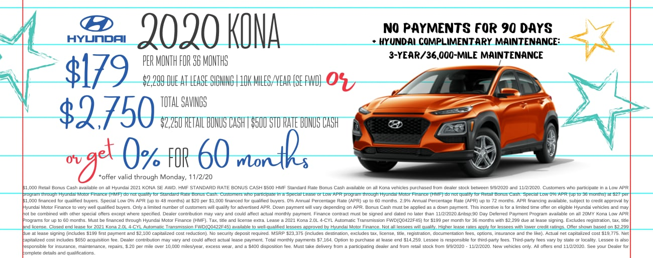 Find the perfect lease special on a new 2020 Hyundai Kona in Dayton OH today.