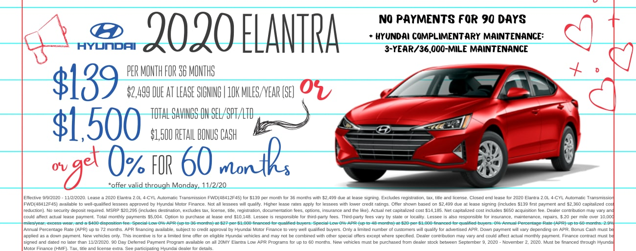 Find the perfect lease special on a new 2020 Hyundai Elantra in Dayton OH today.