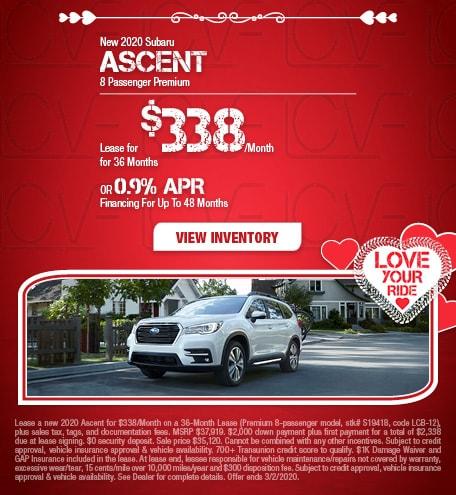 New 2020 Subaru Ascent 8 Passenger Premium - Feb